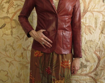 70's Silk Saint-Tropez Novelty Print Skirt sm/med