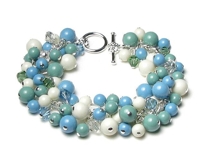 Turquoise Jade Ivory Swarovski Gem Stone Pearl Cluster Swarovski Crystal Silver Charm Bracelet Natural Gift Summer Wedding Statement Jewelry