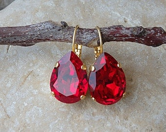 Red Ruby Drop Earrings, Gold Red Swarovski Earrings, Red Teardrop Earrings, Crystal Teardrop Earrings, Red Bridesmaid Earrings, Red Jewelry
