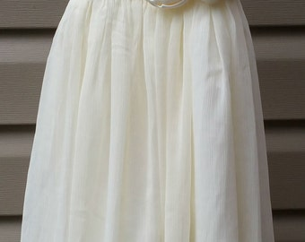 Ivory chiffon flower girl dress, ivory flower girl dress, chiffon dress, chiffon girls dress, flower girl dress, flower girl dress ivory,