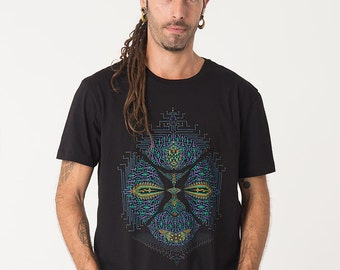 Men Psychedelic T shirt, Screen Printed, Visionary Art Shirt, Ayahuasca, Shaman, Psy Clothing, Festival Shirt, Uv Active Colors