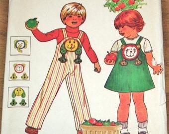Vintage 1970s Sewing Pattern Butterick 6322 Childs Bib Jumper Overalls Animal Applique Toddler Boy Girl Size 2 3 4 Chest 21 22 23 Uncut FF