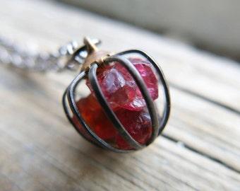 Birthstone Garnet Raw Necklace Jewelry Inspirational Her January Birthday Mom Crystal Gemstone Gift Wife Girlfriend cage Birth Stone Mum