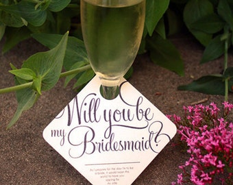 "2 - Adorable ""Will You Be My Bridesmaid"" Wedding Party invitation - Wine Glass Tags - 2 pack"