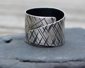 Silver Wrap Ring. Wide Fine Silver Wraparound Ring. Hammered Silver Ring. Textured Oxidized Fine Silver Ring.  Arty Edgy Ring. Size 8.5
