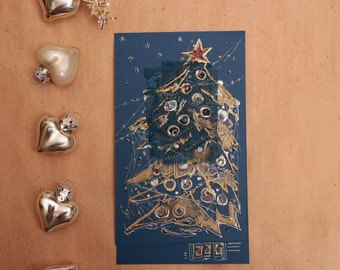 Handmade Christmas card - Gold and blue Christmas tree with red star - blank art greeting card original painting, royal blue, bronze silver