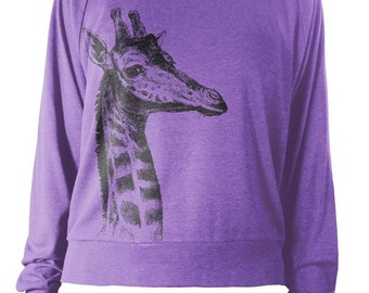 Women's Wideneck Giraffe Tri-Blend Raglan Pullover - American Apparel Pullover - S M L (8 Color Options)