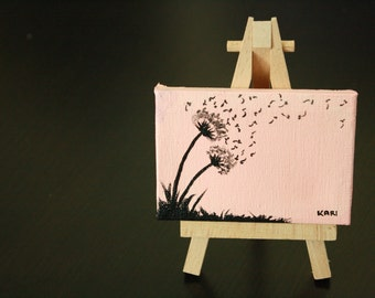 "Pink and Black Dandelion Mini Painting | Acrylic on Canvas 3.5"" x 2.5"" | Dandelion Painting | Mini Painting | Home Decor | Pink Dandelion"