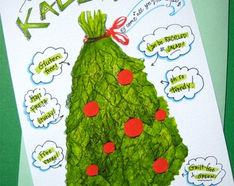 Funny Christmas Cards - Kale Christmas Tree - Vegan Christmas - Boxed Christmas Cards