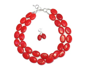 Valentine Red Turquoise Oval Necklace - Red Necklace - Red Bridesmaid Necklace - Red Wedding Jewelry - Red Accessories - Fall Jewelry
