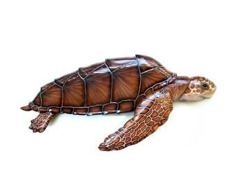 Loggerhead Sea Turtle 32'' wood carving, turtle art, turtle sculpture, nautical art, coastal living art, beach art, marine sculpture, turtle