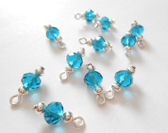Teal Blue Faceted Rondelle Dangle Beads