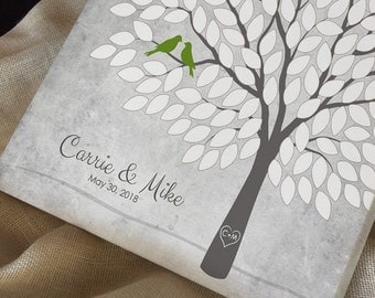 Rustic Wedding Theme Guest Book Alternative, Unique Wedding Tree Guest Book, Personalized Love Birds Poster, 50-300 Guests, Canvas or Print