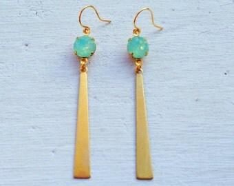 Green Opal Earrings/Boho Earrings/Bohemian Earrings/ Boho Chic/Long Gold Earrings/Gifts For Her/Opal Earrings/Lightweight Earrings