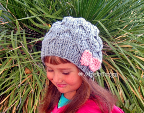 Knitting Pattern 095 - Hat Knitting Pattern - Knitting Hat Pattern Hat with Pink Bow Slouchy Beanie Hat Toddler Child Teen Adult Girls Women