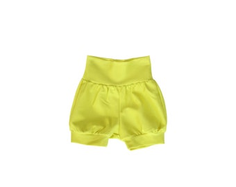 bright yellow infant knit bloomer shorts