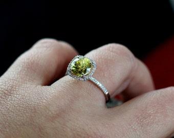 Yellow Sapphire Engagement Ring Round Cushion & Diamonds Halo Cuscino Grand 2ct 8mm Custom Size White-Yellow-Rose Gold-10k-14k-18k-Platinum