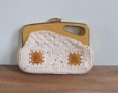 Vintage 70's Cream Macrame Wood Framed Boho Clutch Bag