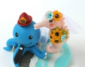 Octopus groom and seahorse bride wedding cake topper, with sea base and banner, beach summer wedding