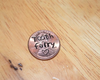 Tooth fairy pennies with heart. Tooth fairy gift.  Lost tooth gift.