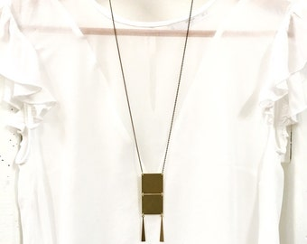 Minimal necklace, modern pendant necklace, Long Brass Necklace / Linking Square Necklace - Faceted Brass Chain
