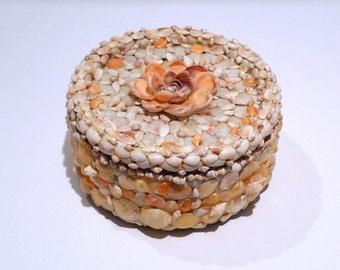 Seashell Cake Tin Vintage Shell Storage Box 1970s Tiny Miniature Ocean Shell Covered Sea Mermaid Theme Metal Round Box with Lid Orange Cream