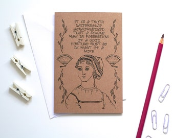 Jane Austen Card Pride and Prejudice Card Book Card Greetings Card Book Lover