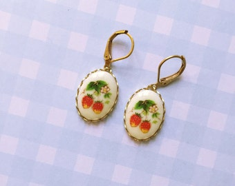 Vintage glass cabochon earrings with strawberries