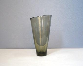 Largest Vintage Per Lutken Holmegaard Smoke Glass Thule Vase