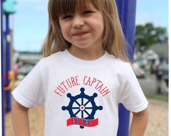 Future Captain T Shirt, Nautical T Shirt, Personalized T Shirt, Ships Wheel Shirt, Beach T Shirt, Boat Shirt, Boating Gift, Vacation Shirt