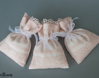 Lace favor bag set of 25 pale pink lined romantic classy wedding engagement favors bridal baby shower gift fabric bags ready to ship