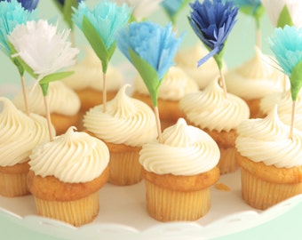 blue flower carnation cupcake toppers