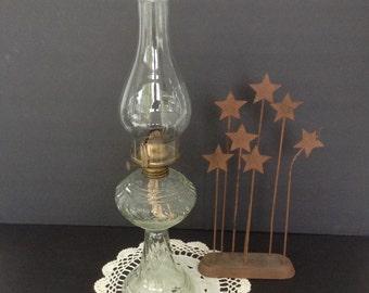 HURRICANE OIL LAMP, Clear Glass Oil Lamp, Ribbed Glass Oil Lamp, Home Decor, Vintage Light Gift Fluted Chimney Globe