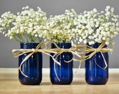 Three Cobalt Blue Mason Jar Vases, Rustic Table Decor, Wedding Centerpiece, Hand Painted Glass Tint