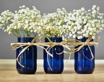 Three Cobalt Blue Mason Jar Vases, Rustic Table Decor, Wedding Centerpiece, Hand Painted Glass Tint