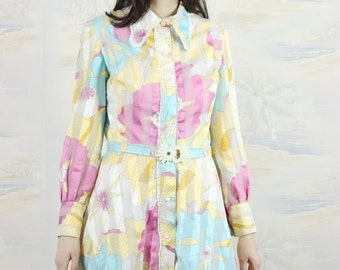 psychedelic 60s dress,Medium,cotton dress,rainbow dress,floral dress, bohemian,summer dress,day dress,hippie chic,A line dress,,vintage