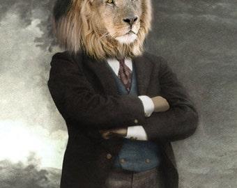 Zuba, Vintage Lion Print, Anthropomorphic, Whimsical Art, Altered Photo, Unique Gift Idea, Wildlife Art, Wildlife Note Cards, Lion Art