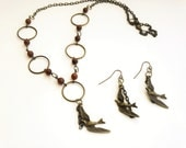 Bronze Necklace and Earrings/ Fly Away/ Bronze Sparrow/ Bronze Chain Necklace/Jewelry set/gift set / Clearance