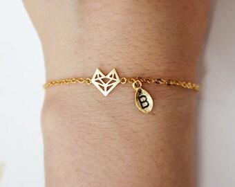 fox bracelet, Personalized bracelet,origami fox bracelet, animal,initial bracelet, Personalized Jewelry, friendship bracelet