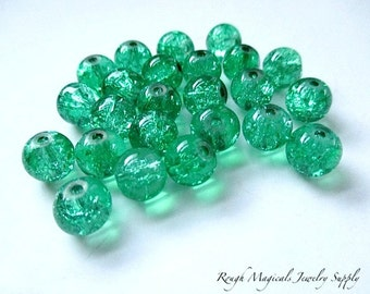 Bright Green Beads, 8mm Cracked Glass Beads, Round Beads, St Patricks Day Jewelry Making, Christmas Holiday Color Beads - 12 Pieces  SP675G
