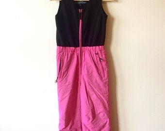 90s Pink and Black Ski Pants with Fleece Vest Girls 12