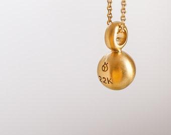 CIJ SALE 30% Off || 22K Gold Ball Pendant Necklace,Minimalist Pendant Solid Gold Sphere Charm Necklace Gold Pendant Woman Graduation Pendant