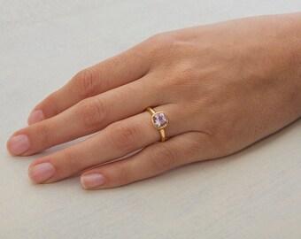 CIJ SALE 20% Off || Morganite Engagement Ring Gold Morganite Ring, Solitaire Bezel Ring Pink Gemstone 18k Gold Ring, Unique Engagement Ring