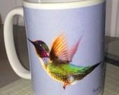Anna's Hummingbird Flying Large Coffee Mug 15 Oz