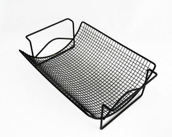 Vintage Magazine Rack - Black Metal - Wire Mesh - Mid Century - Industrial Decor - Modern Magazine Storage