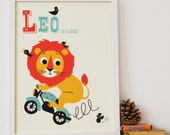 Personalised 'Leaping Lion' Name Print, letter L, Leo Print, Retro Lion Print for kids, New Baby Gift,Nursery name print,New Baby name Print