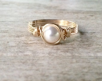 Pearl Ring, 14k Gold Filled Wire Wrapped Pearl Ring, Gold Filled Ring
