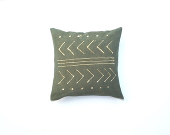 Hand dyed Tribal Pattern Pillow Cover in Green Pillow Cover Dark Green Throw Pillow Decorative Pillow cover 18 x 18 Cushion cover
