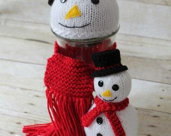 Hand Knit Snowman set, Newborn Snowman Stuffy, Newborn Swaddle Sack, Christmas Photography prop --- Made to order