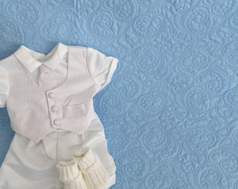 Keepsake Baby Quilt with Elegant Quilting on Soft Cotton - Whole Cloth Baby Quilt Heirloom Vintage Baptism Christening Baby Quilt